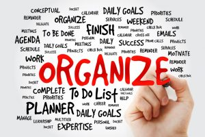 Hand writing Organize word cloud business concept